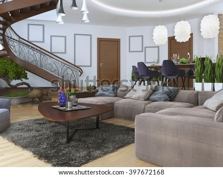 Living in a modern style with a spiral wooden staircase to the second level. Along the walls hang posters mockup. Under the stairs a green area with a bonsai. 3D render - stock photo