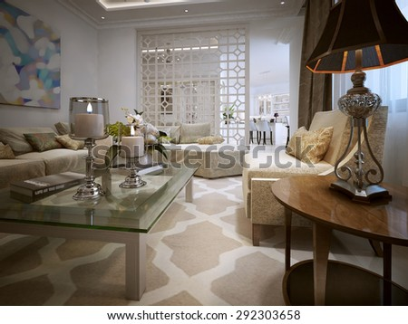 Living Room Arabic Style 3d Visualization