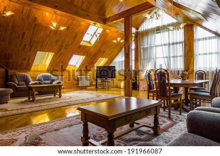 Living room attic wood interior with carpet and TV