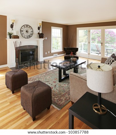 Living room classic interior with white and brown. - stock photo