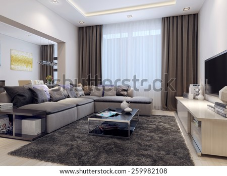 Living room contemporary style, 3D images - stock photo