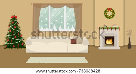 living room decorated. Living room  decorated with Christmas decoration The has a fireplace white Room Decorated Decoration Stock Vector