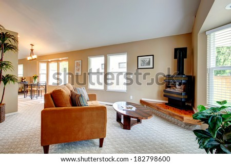 Living room design. View of orange couch with striped pillows, wooden coffee table and freestanding stove on a hardwood base