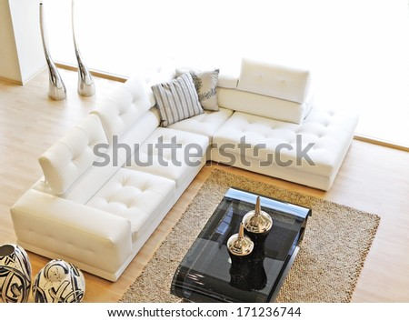 living room from above - stock photo