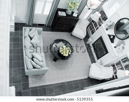 Living room from loft above - stock photo