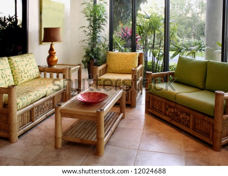 Living room furniture and accessories - stock photo