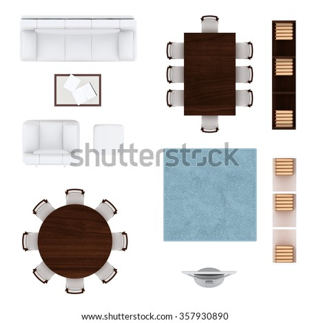 Living room furniture top view collection. Sofa, armchair and coffee table, round table with chairs, large square table with chairs, carpet, tv and bookshelves  for your designs. - stock photo