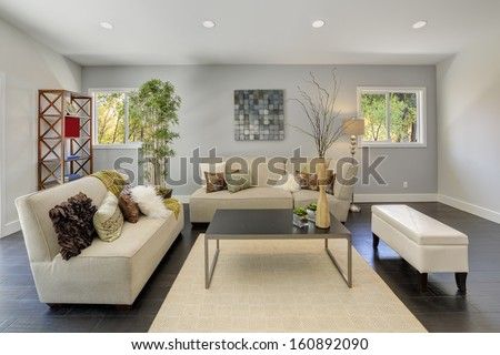 Living room in a luxury house. - stock photo