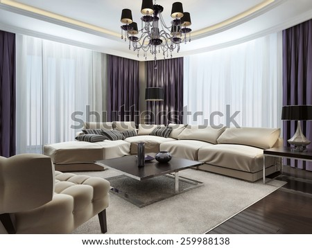 Living room in Art Deco style, 3d images - stock photo
