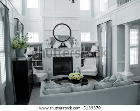 living room in clean whites