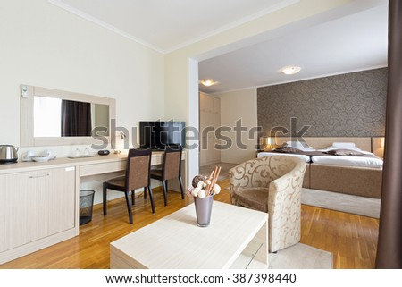 Living room in hotel apartment