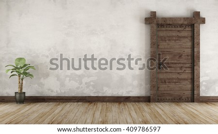 Living room in rustic style with  old wooden door without furniture - 3d Rendering