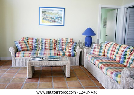 living room in tropical villa - stock photo