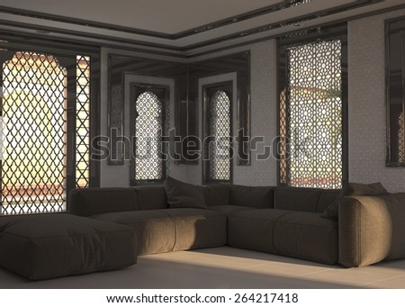 Living Room Interior At Street Level With Ornate Window Grills And A Corner Unit Comfortable Brown