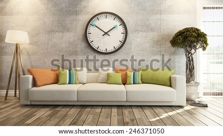 living room interior design 3d rendering - stock photo