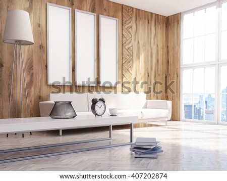Living room interior design with three oblong picture frames and sofa. Mock up, 3D Rendering - stock photo