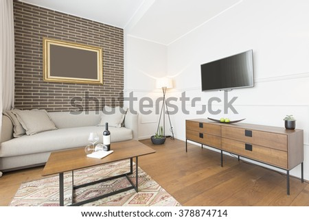 Living room interior in modern apartment - stock photo