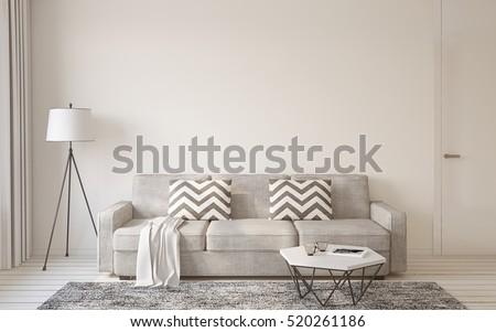 Living Room Interior In Scandinavian Style 3d Render. Part 83