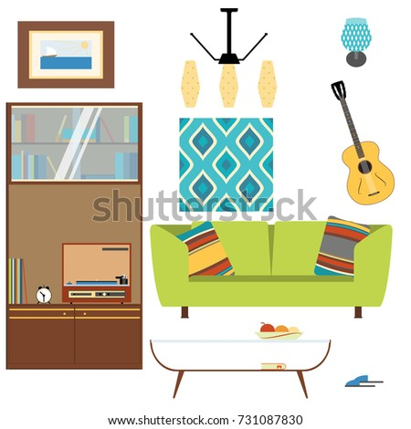 Living Room Interior Objects Collection With Sofa, Table, Sleepers,  Cupboard, Brace, Part 75