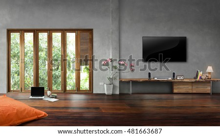 Living room interior tall windows with old wooden floors