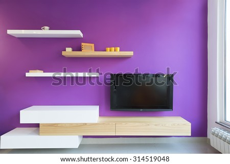 Living room interior - tv stand, wall mounted - stock photo
