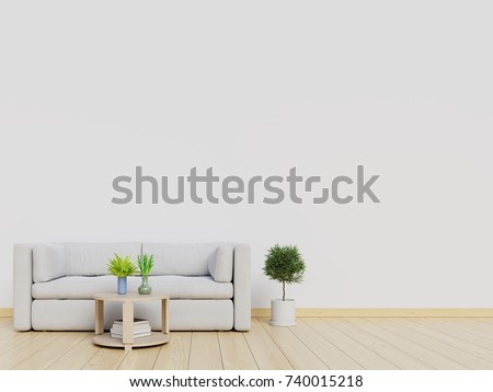 living room interior wall mock up with sofa and white wall background 3d rendering