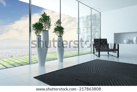 Living room interior with a panoramic glass wall overlooking a patio and view with a modern artistic potted plant and armchair with a striped carpet, grey and white decor - stock photo