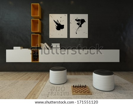 Living room interior with black wall and modern furniture - stock photo