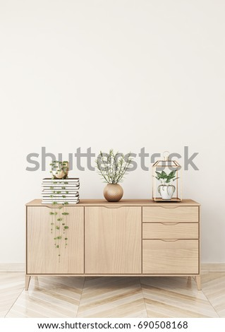 Living Room Interior Chest Drawers Plants Stock Illustration ...