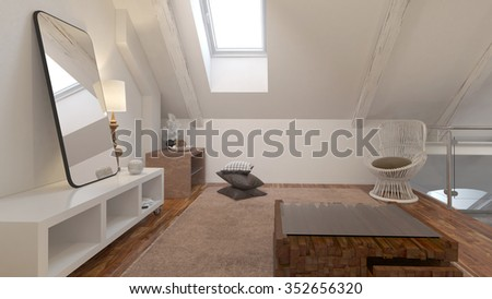 Living room interior with comfortable chair under a roof slope. 3d Rendering. - stock photo