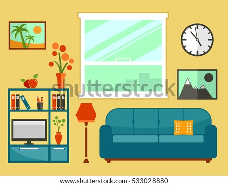 Living Room Interior With Furniture Apartment Isolated Furniture Set For Cozy Furnishing Home