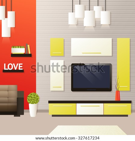 Living room interior with indoors flat furniture objects  illustration