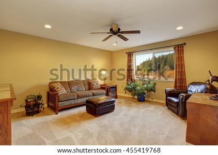 Living room interior with sofa, carpet floor and wooden furniture - stock photo