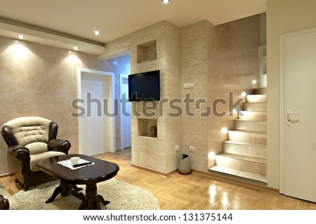 living room interior with stairs - stock photo