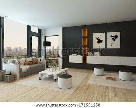 Living room interior with two stool and chess game - stock photo