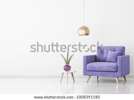 Living Room Interior Violet Velvet Armchair Stock Illustration ...