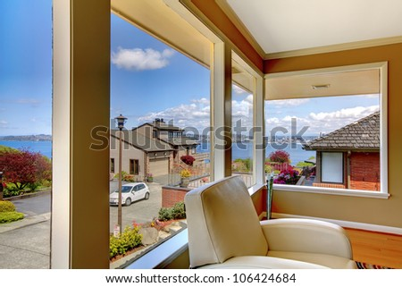 living room interior with white chair and luxury view. - stock photo