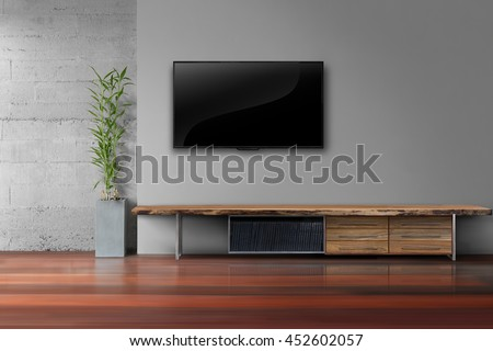 Living Room Led Tv On Gray Wall With Wooden Table And Plant In Pot Modern Loft
