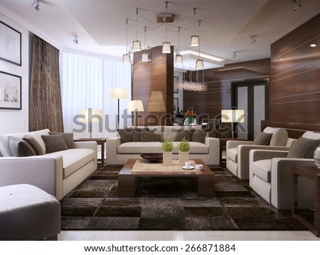Living room modern interior, 3d render - stock photo
