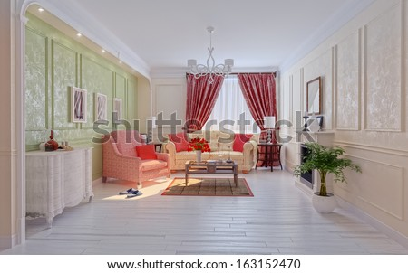living-room modern interior (3D rendering) - stock photo
