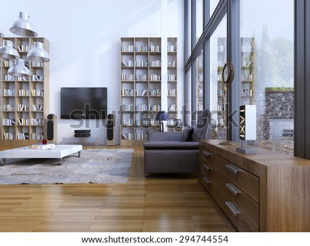 Living room modern style. Contemporary living area with designer furniture, and floor to ceiling panoramic windows. 3D render - stock photo