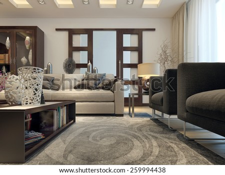 Living room modern style. 3D images