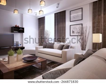 Living Room Modern Style, 3d Render Part 75