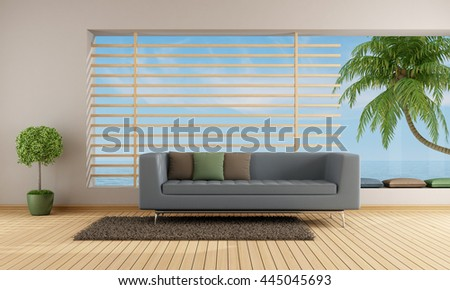 Living room of a holiday villa wit blue sofa and big window - 3d rendering