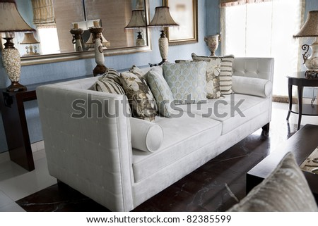 living room of a modern apartment with fusion of oriental furniture - stock photo