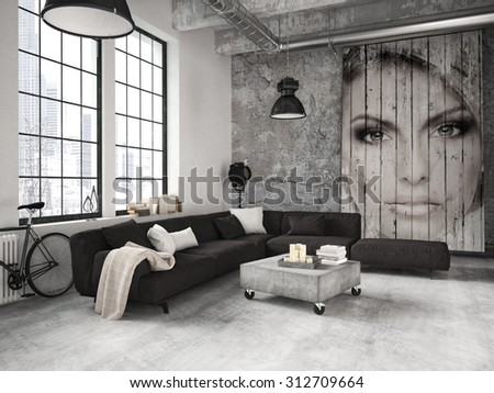 living room of a penthouse placed in loft. 3d rendering - stock photo