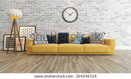 Living Room Or Saloon Interior Design With Big Wall Yellow Seat Or Sofa And Picture Frames