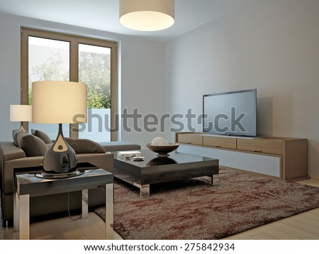 Living room scandinavian style. 3d render - stock photo