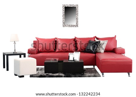 Living room set against white background.