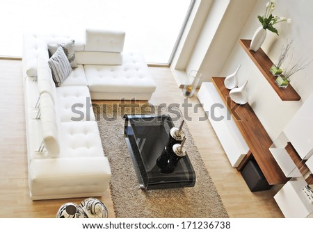 living room shot from above - stock photo